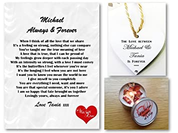 personalised love letter romantic poem gift set always forever husband wife
