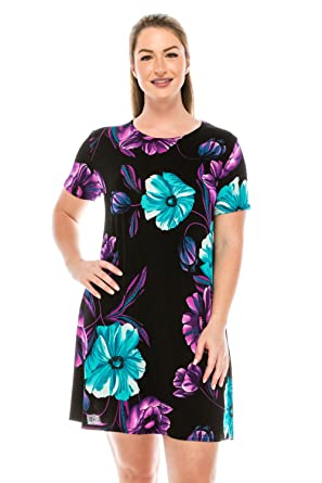 1b8f6c669fa Image Unavailable. Image not available for. Color  Jostar Women s Stretchy  Missy Tank Dress Print Plus X-Large ...