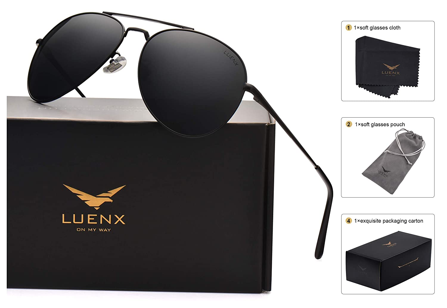 LUENX Men Aviator Sunglasses Polarized for Driving with case 60MM A-1614-9