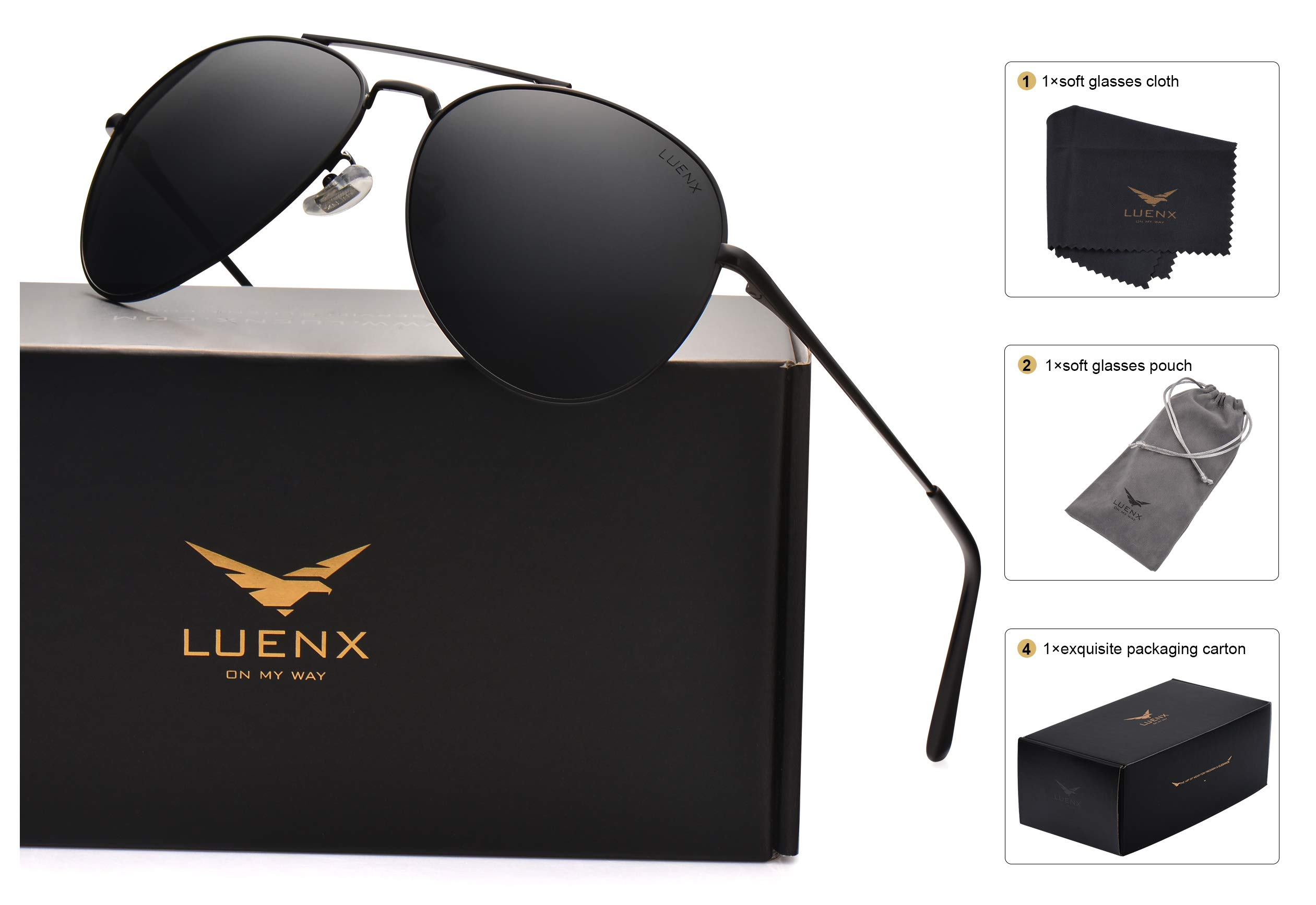 8a15de9c0c Galleon - LUENX Aviator Sunglasses Men Women Polarized With Case - UV 400  Non-Mirror Black Lens Metal Black Frame 60mm