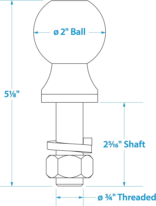 3//4 x 2-5//16 Inch Shank Chrome Finish 2 Inch Ball Seachoice 51331 SEA Class II Trailer Hitch Ball