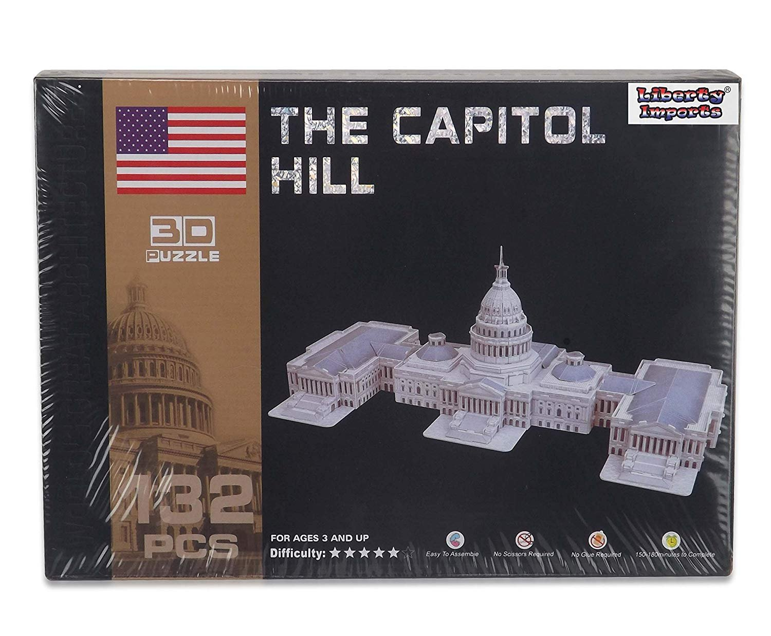Liberty Imports 3D Puzzle DIY Model Set | Worlds Greatest Architecture Jigsaw Puzzles Building Kit (US Capitol Hill)