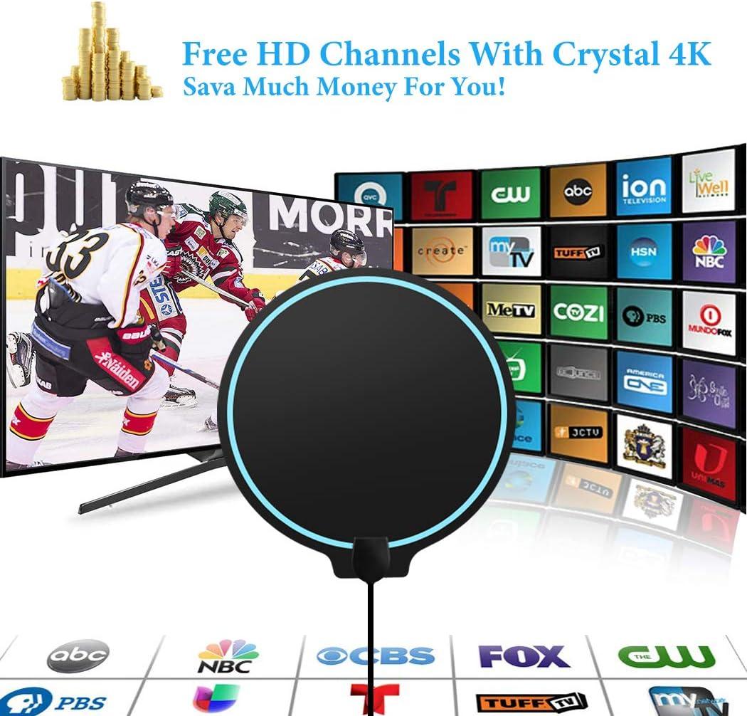 Cinati Redondo Antena de TV, Antena HDTV Digital de Interior de 130 Millas, Soporte 4K 1080P HD VHF UHF y Antena de TV de Mayor Alcance con Amplificador de Señal Amplificador: Amazon.es: