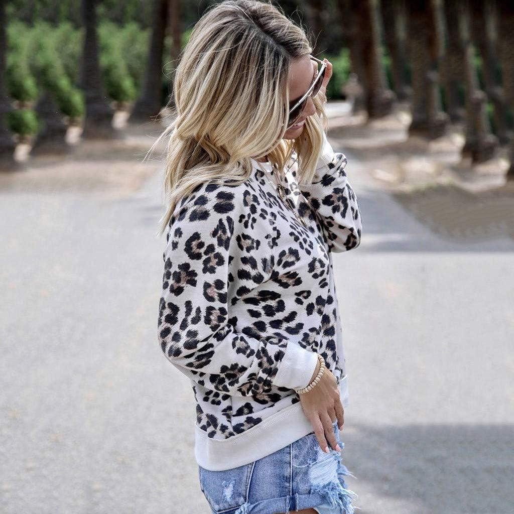 Miuye yuren Womens Leopard Print Warm Pullovers Fashion Casual Warm Winter Funny Sweater Tops for Teen Girls