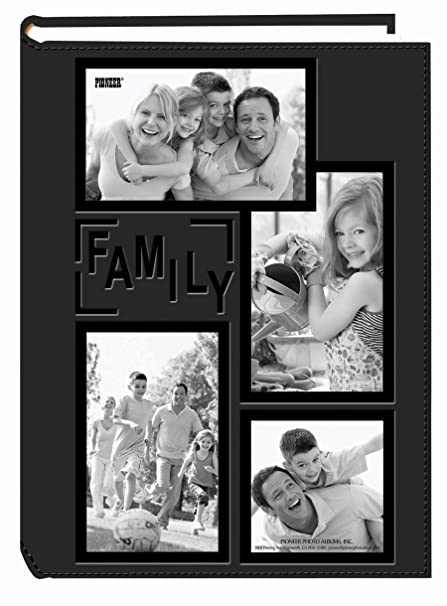 Pioneer collage frame embossed family sewn leatherette cover 300 pocket photo album