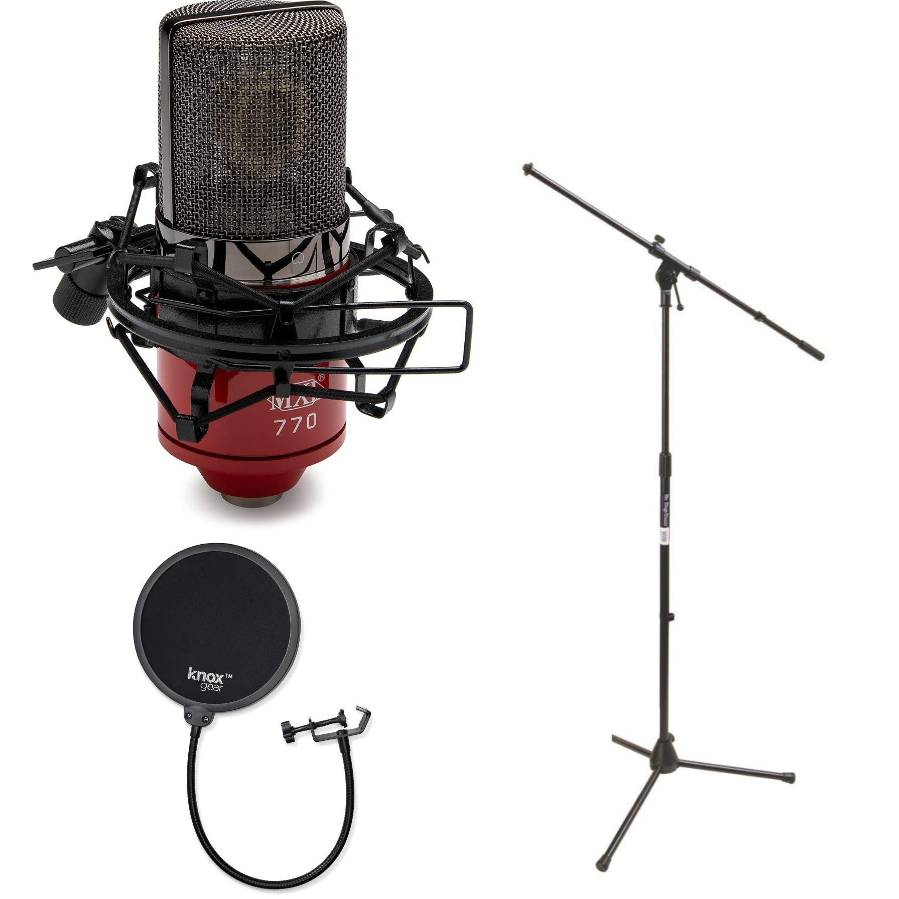 MXL 770-RED Cardioid Condenser Microphone with Euro Boom Microphone Stand and Knox Gear Pop Filter