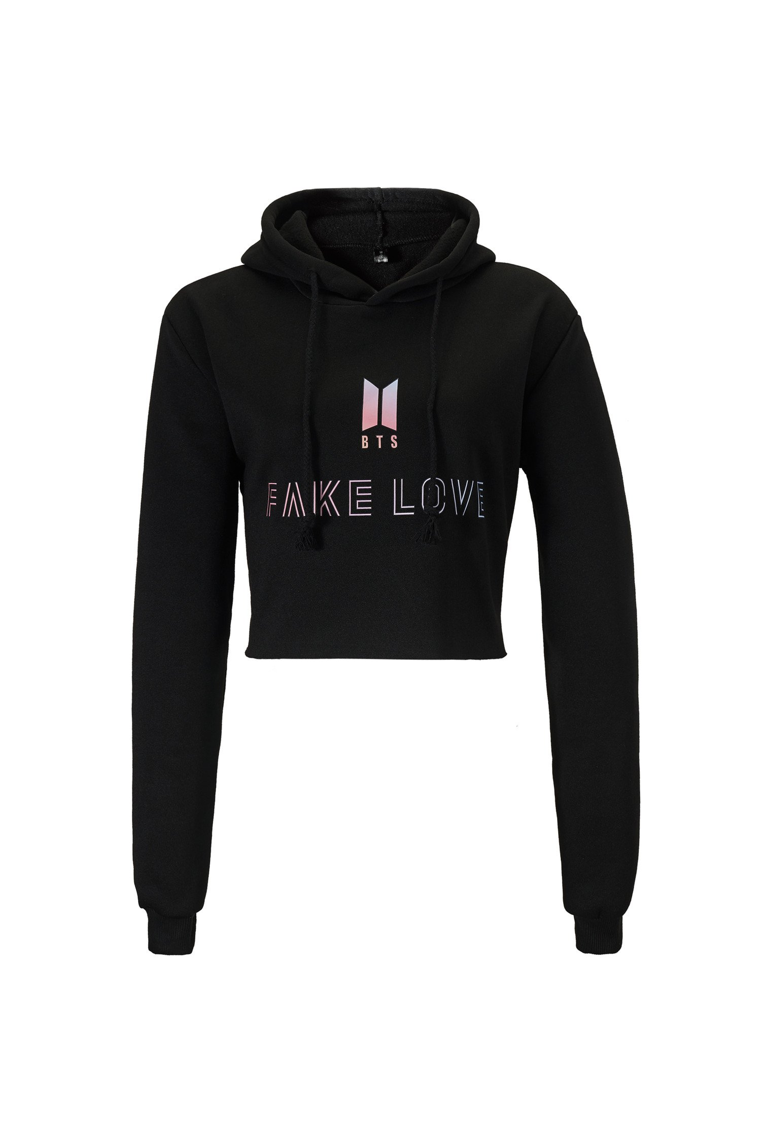 Trifuness Women BTS Fake Love Cute Crop Top Hoodie Long Sleeve Sweatshirt Pullover