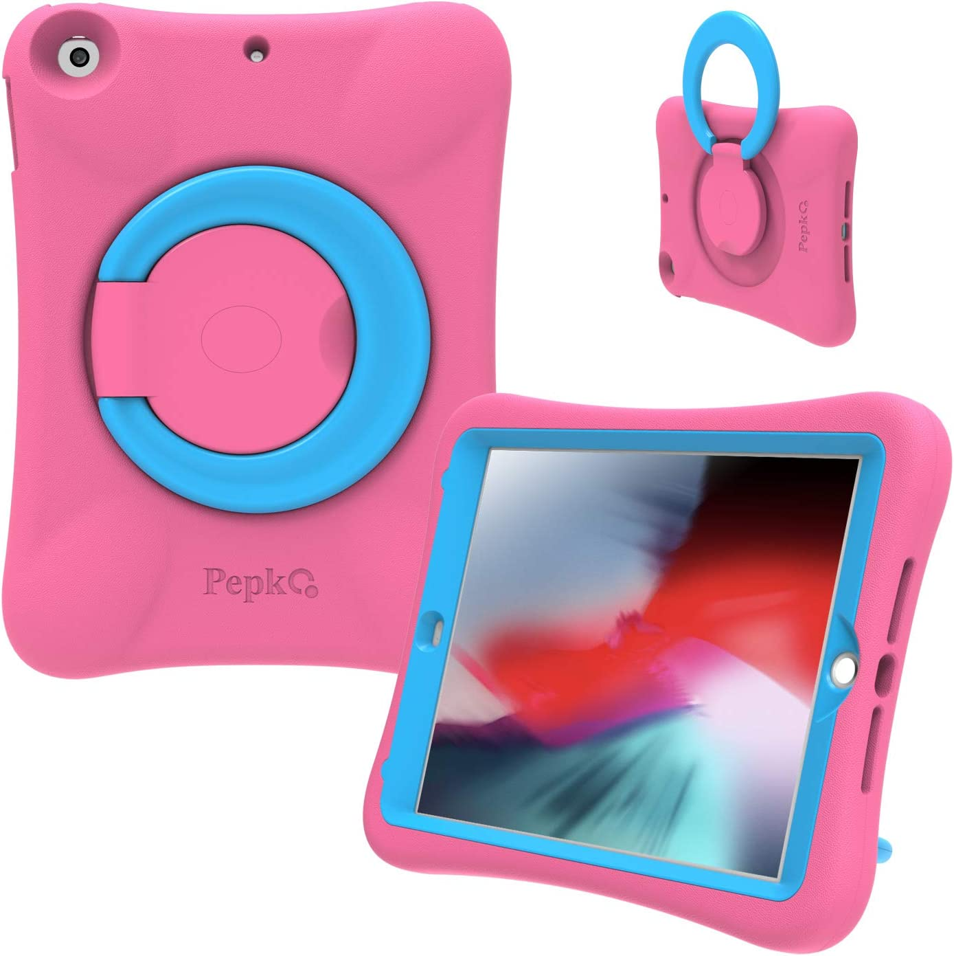 PEPKOO iPad 9.7 2017/2018 Case for Kids - Lightweight Shockproof Handle Stand Rugged Cover for Apple iPad 6th Generation/5th Gen/Air/Air 2 (Pink/Blue)