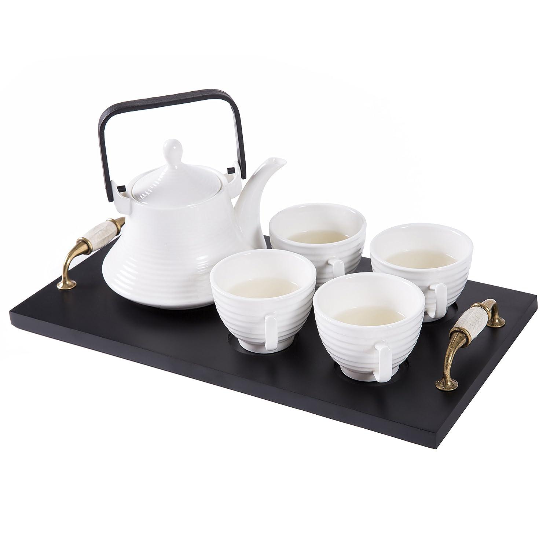 Classic White Ribbed Ceramic Tea Set, Vintage Serving Tray, Teapot & 4 Teacups - MyGift SPOMHNK1359