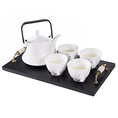Classic White Ribbed Ceramic Tea Set, Vintage Serving Tray, Teapot & 4 Teacups - MyGift