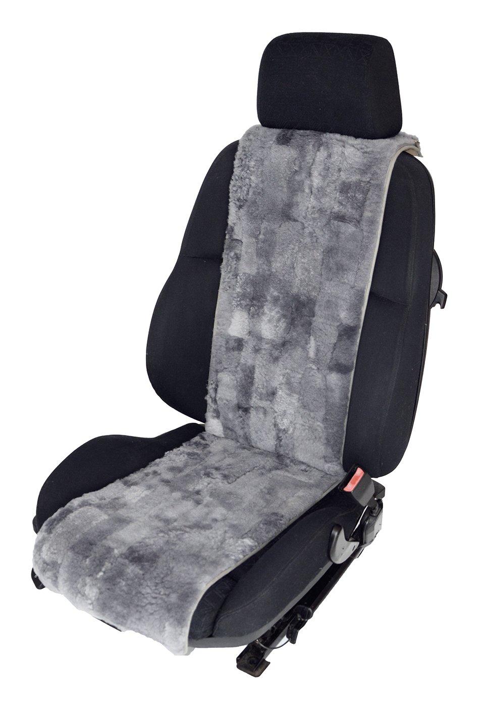 Fellh/öhe 20mm Sekt Leibersperger Autofell-Autositzauflage aus Echtem Lammfell Patchwork 36cm Breite x138cm L/änge