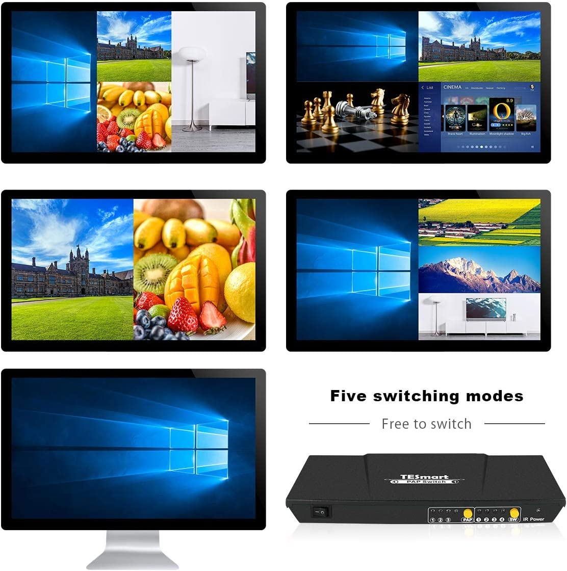TESmart HDMI Switch 4X1 Quad Screen Multi-Viewer Splitter Seamless Switcher with 5 Display Modes IR Remote, Support 1080P@60Hz 4 in 1 Out(Black): Home Audio & Theater