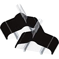 Utopia Home 24 Pack Velvet Skirt Hangers with Clips - Non Slip Velvet Clothes Hangers with Notches for Pants and Coat - Slim and Heavy Duty with 360 Degrees Swivel Hook - Black