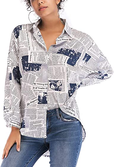 Camisa de mujer estampada manga larga hecha en España