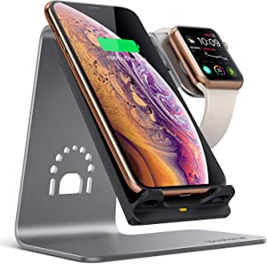 Bestand 2 in 1 Wireless Charger, Qi 15W (for LG) Wireless Charging Stand Compatible with iWatch/iPhone X/Xs/Xs Max/XR/8 Plus/8/Samsung Galaxy S10/S9/S9+ - Silver