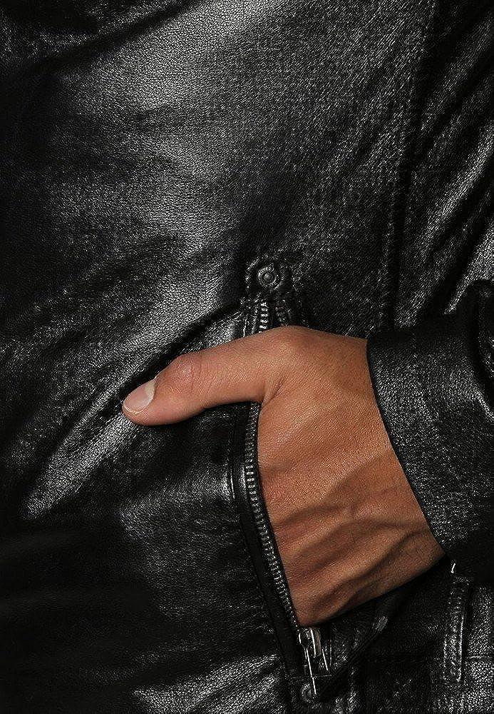 96 Hellojeehouse Men Leather Jacket Black Slim Fit Biker Motorcycle Lamskin Jacket