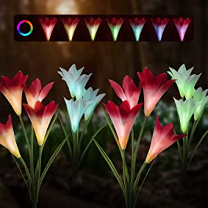 muscccm Solar Lights Outdoor- 2 Pack New Upgraded Solar Garden Lights with 8 Lily Flowers Petals,7 Colors Changing IP65 Waterproof Decorative Lights for Backyard Patio Lawn Front Yard(White and Pink)