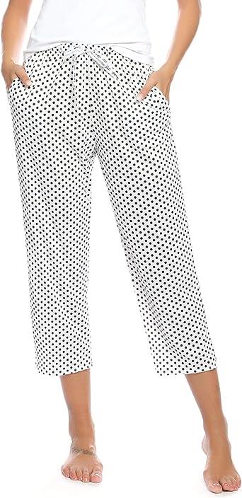 Hawiton Pantalones de Pijama para Mujer Capri Pantalon de Dormir de Algodón con Punto: Amazon.es: Ropa y accesorios