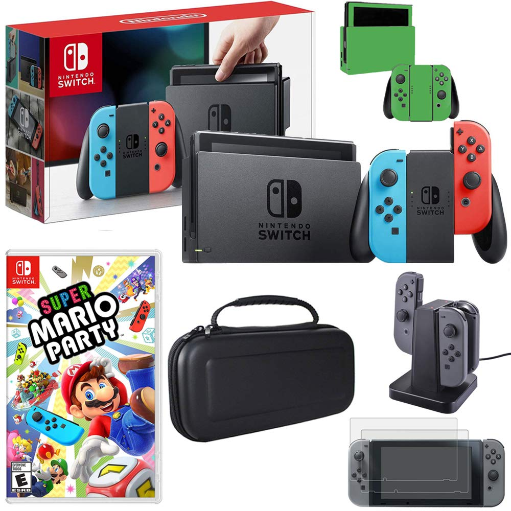 Nintendo Switch 32GB Console (Neon Blue&Red), Mario Party 8, Charging Dock, Skin & More