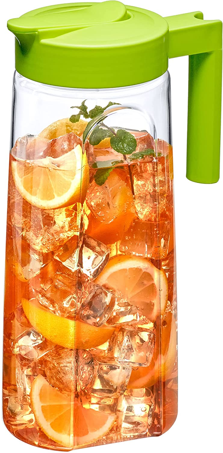 Amazing Abby - Slim - Tritan Pitcher (64 oz), Unbreakable Plastic Pitcher, BPA-Free, Heat-Resistant, Dishwasher-Safe, Great for Both Iced and Hot Drinks, Indoors and Outdoors, Green