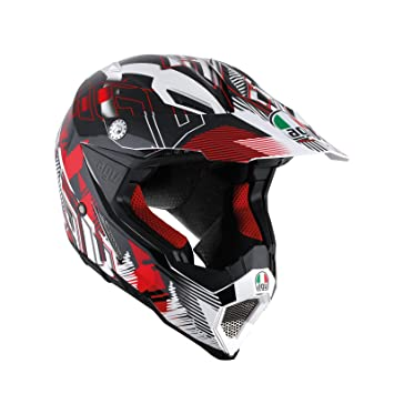 AGV Casco Moto AX-8 Evo E2205 Multi, nofoot White/Red, ...