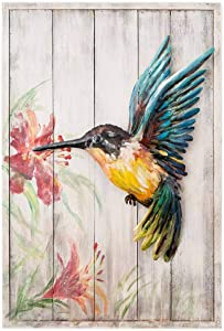Wind & Weather Handcrafted Metal and Wood Hummingbird Indoor Wall Art - 15.75 W x 23.5 H x 2 D