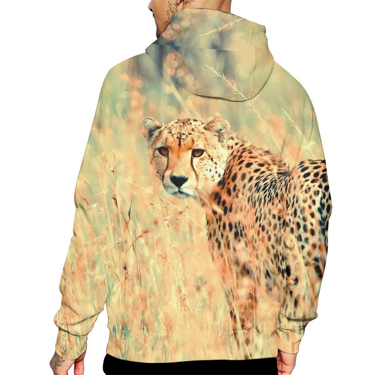 Beautiful Cheetah Mans Long Sleeve Hoodie Casual Pocket Hooded Sweatshirt