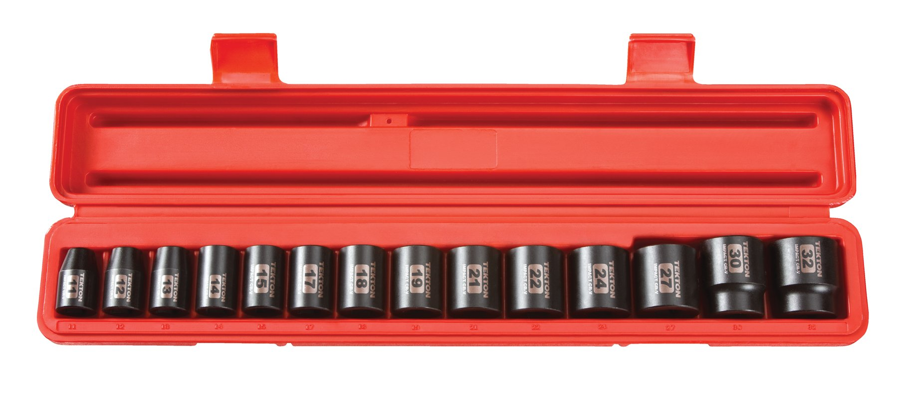 TEKTON 1/2-Inch Drive Shallow Impact Socket Set, Metric, Cr-V, 12-Point, 11 mm - 32 mm, 14-Sockets | 48171 by TEKTON