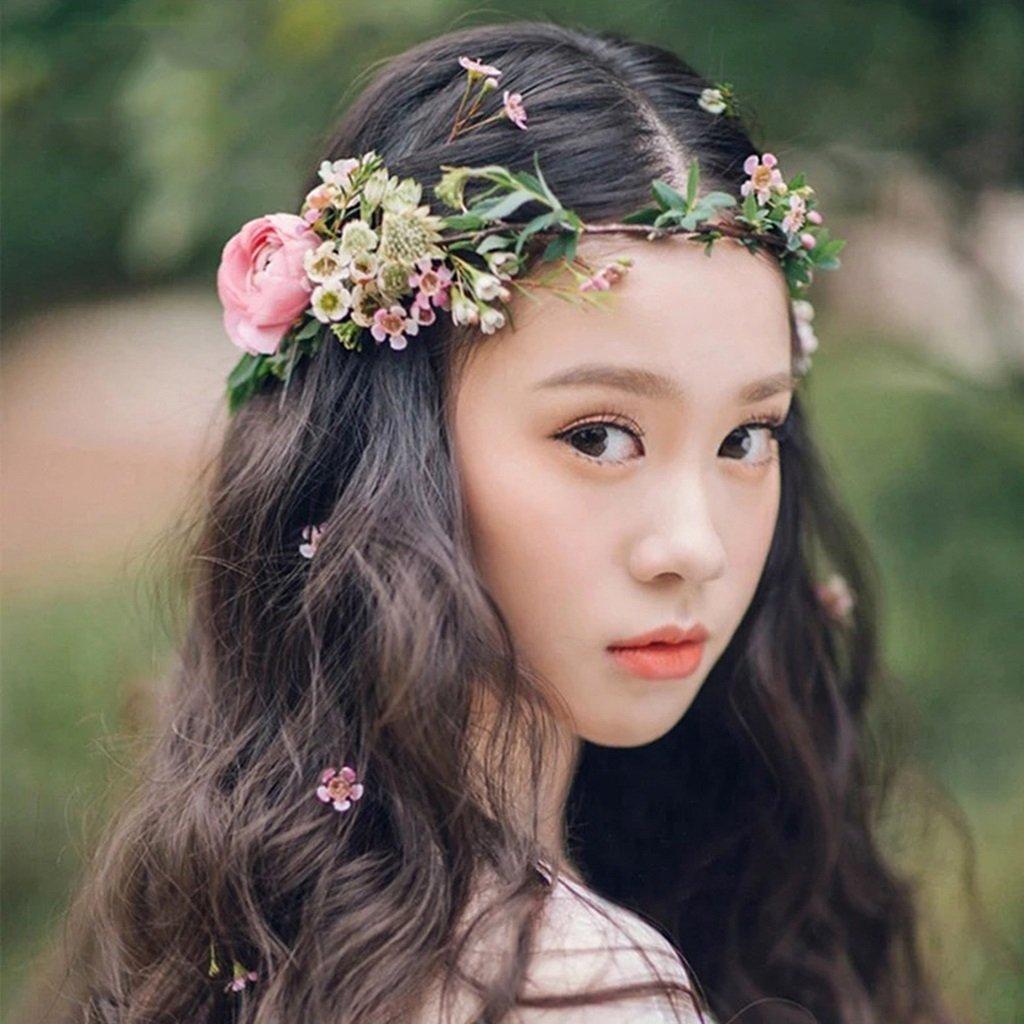 Wreath Flower, Headband Flower Garland Handmade Wedding Bride Party Ribbon Headband Wristband Hairband (Color : Multi-Colored)