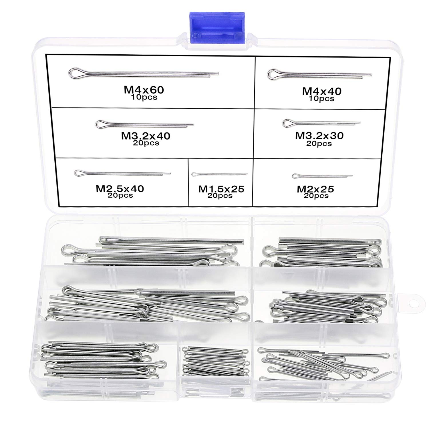 WiMas 7 Size 120PCS Stainless Steel Cotter Pin Clip Fastner Fitting Assortment Kit for Automotive Mechanics Small Engine Repair