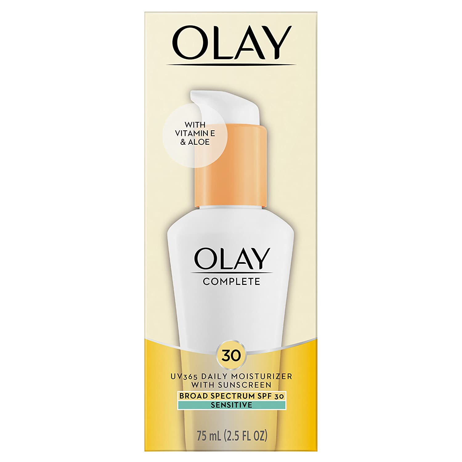 Face Moisturizer by Olay, Complete All Day Moisturizer with Broad Spectrum SPF 30 - Sensitive, 2.5 Fl Oz