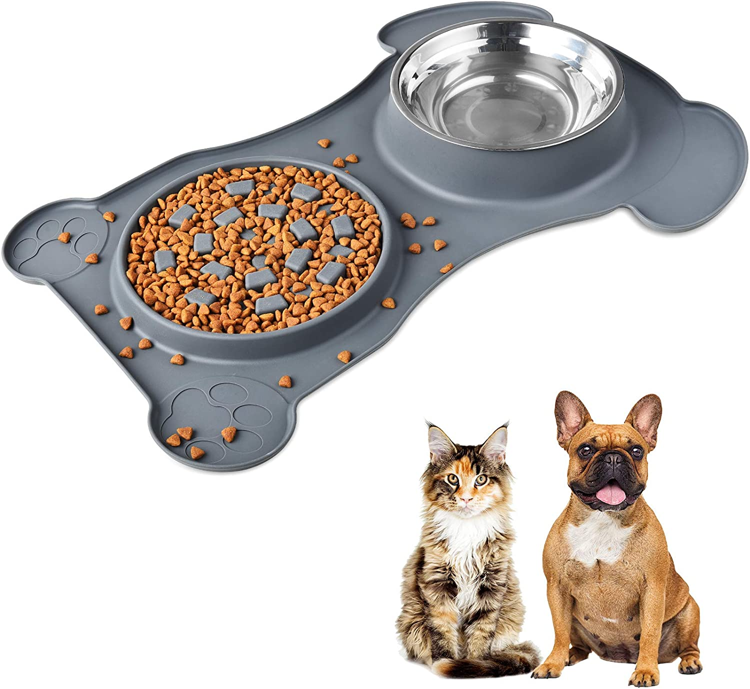 Dog Cat Food Water Bowl - Stainless Steel Anti-Spill Anti-Skid Silicone Slow Feeder Bowl Mat Wet or Dry Food for Large & Small Pet Puppy Dog