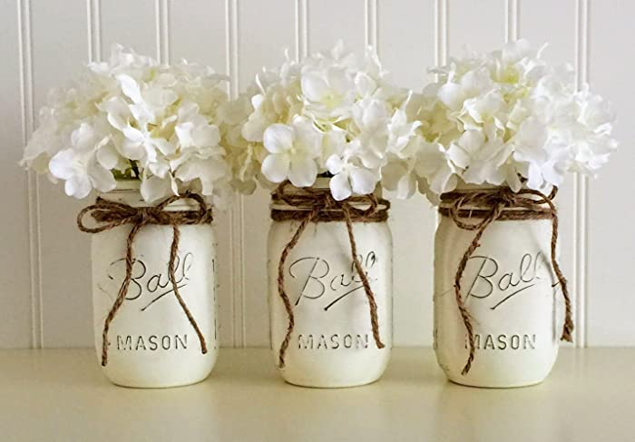 Mason Jar Wedding Centerpieces.Mason Jar Set 3 Piece White Wedding Centerpiece