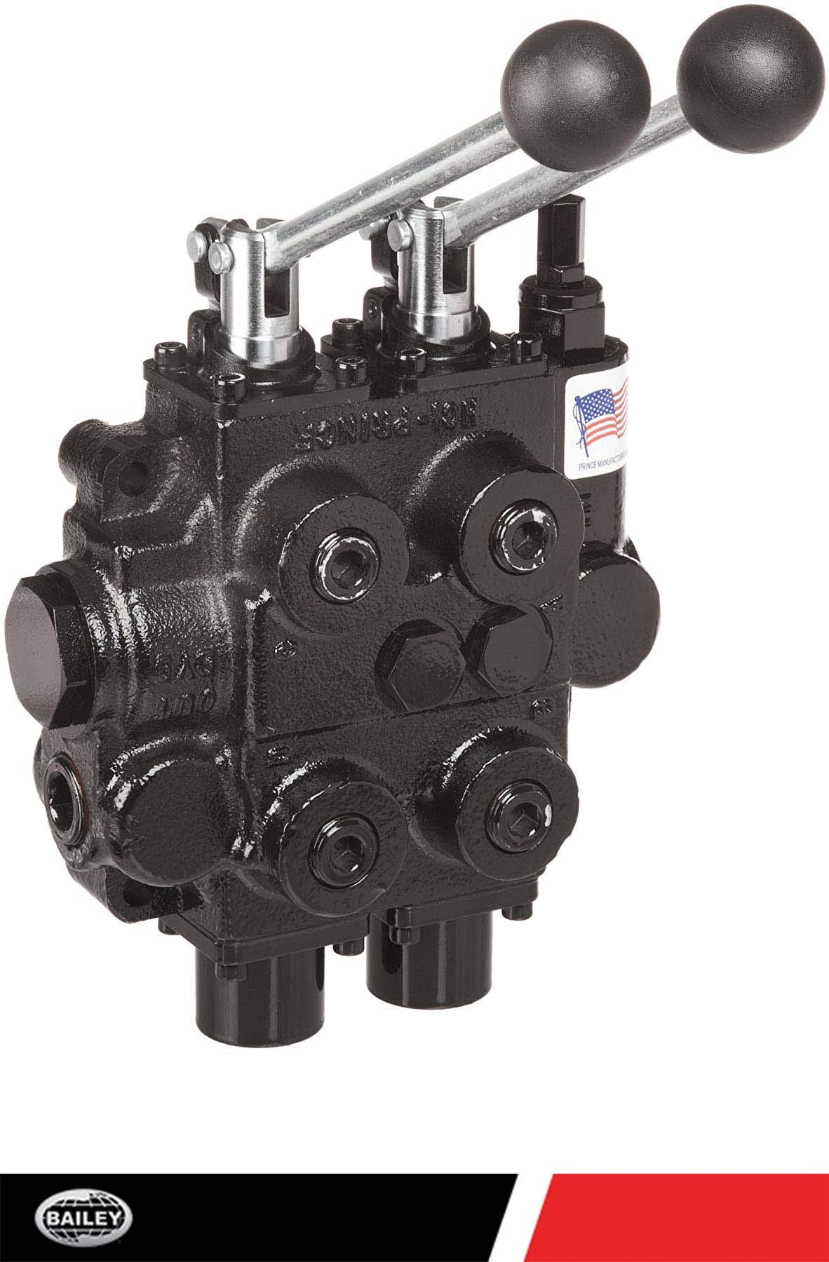 Prince RD522CCAA5A4B1 Directional Control Valve, Two Spool, 4 Ways, 3 Positions, Tandem Center, Cast Iron, 3000 psi, Lever Handle, 25 gpm, In/Out: 3/4'' NPTF, Work 1/2'' NPTF