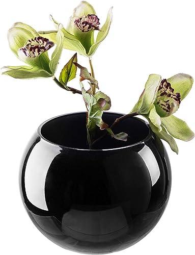 MyGift 7-inch Decorative Small Round Glazed Black Glass Flower Vase