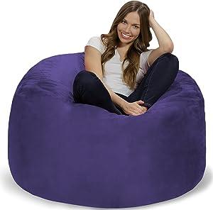 Chill Sack Bean Bag Chair: Giant 4' Memory Foam Furniture Bean Bag - Big Sofa with Soft Micro Fiber Cover - Purple