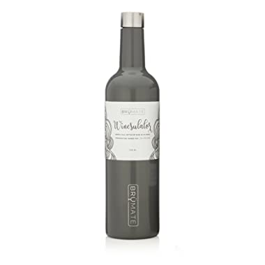 BrüMate Winesulator 25 Oz Triple-Walled Insulated Wine Canteen Made Of Stainless Steel, 24-hour Temperature Retention, Shatterproof, Comes With Matching Silicone Funnel Charcoal)