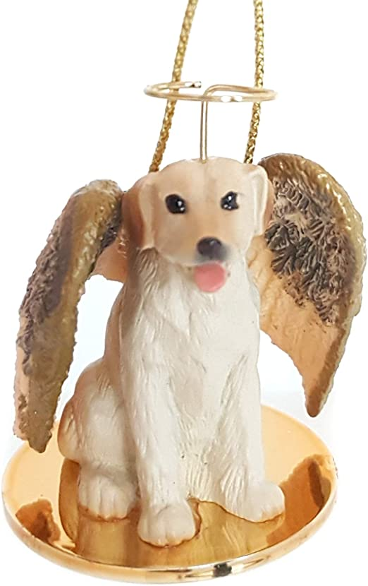 Yellow Labrador Ornament Angel Figurine Hand Painted