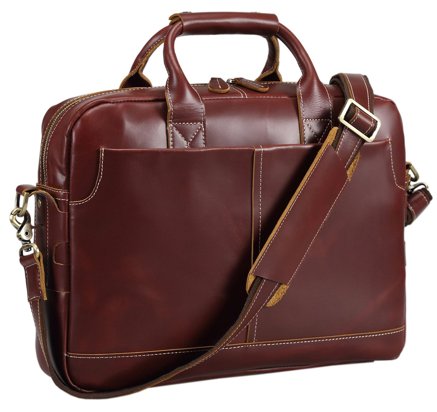Polare Men's Thick Authentic Genuine Leather 16'' Laptop Case Bag Briefcase (Burgundy)