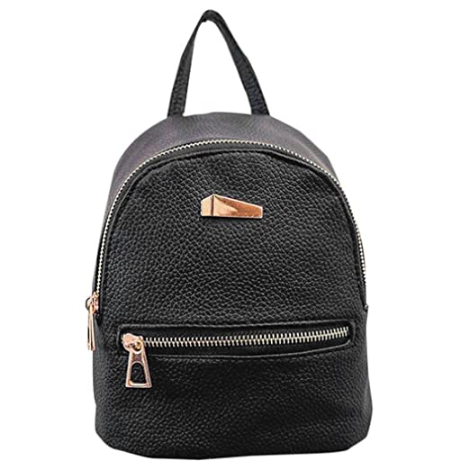 Afco Fashion Faux Leather Backpack Girls Travel Handbag School Rucksack Bag - Black