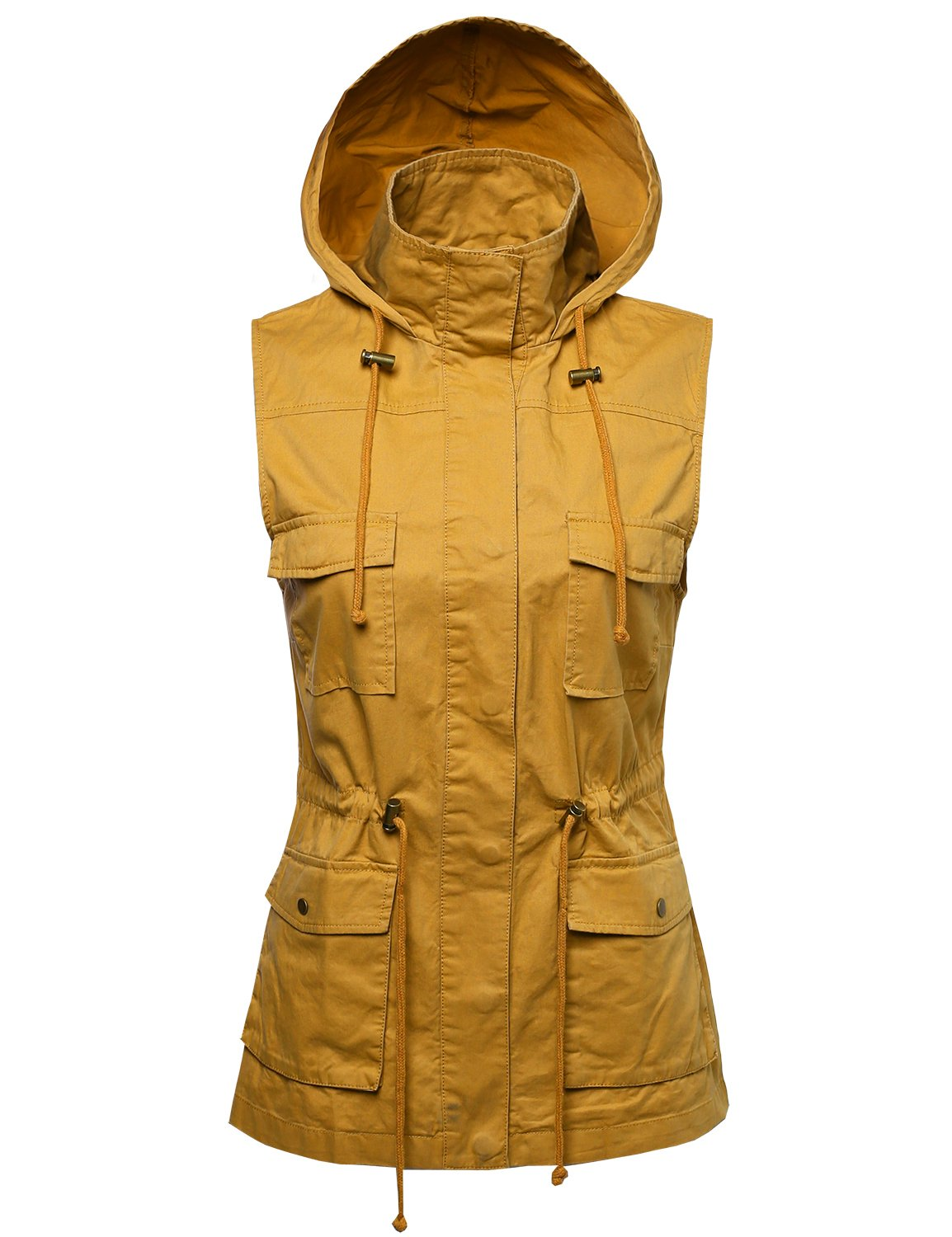 Sleeveless Safari Military Hooded Vest Jacket Mustard M by Made by Emma (Image #1)