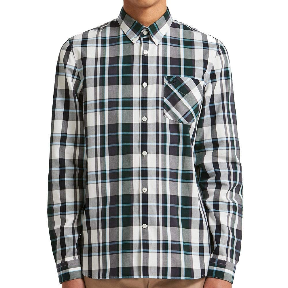 ec8e71261e Fred Perry Bold Check Shirt in Navy  Amazon.co.uk  Clothing