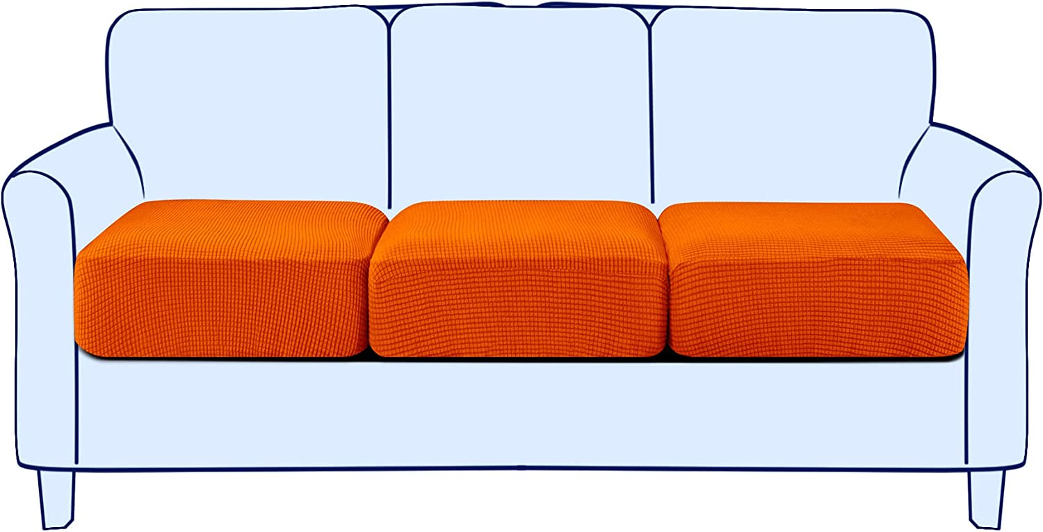 subrtex Spandex Seperated Couch Cushion Covers Stretch Chair Slipcover Furniture Protector Slip Covers for Settee Sofa Seat in Home Living Room (3,Orange)
