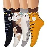 AMKMAX Calcetines de mujer lindos animales calcetines estampados coloridos divertidos de la novedad casual de algodón calceti