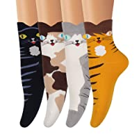 AMKMAX Women Socks Casual Cotton Patterned Animal Socks Cute Colorful Comfort Socks