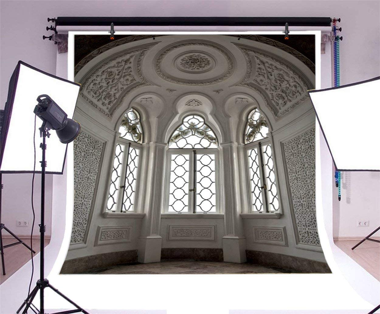 GoEoo 10x10ft Ancient Mediaeval Church Interior Backdrop Holland Place Worship Stone Arch Cathedral Pillar Catholicism Abbey Column Corridor Photography Background Photo Studio Props