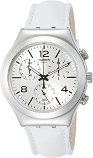 Swatch Biancamente MenS Leather Strap Watch Ycs111