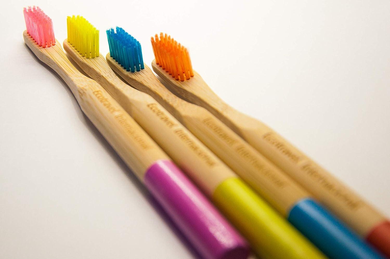 Cepillo de dientes de Bambú 100% Eco Friendly, Biodegradable, Cerdas Médium, Pack de 4 en colores variados: Amazon.es: Salud y cuidado personal