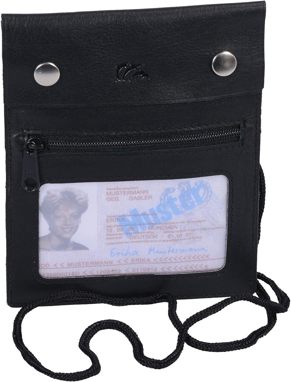 noir Travel-Line LEAS Pochette de s/écurit/é en cuir v/éritable