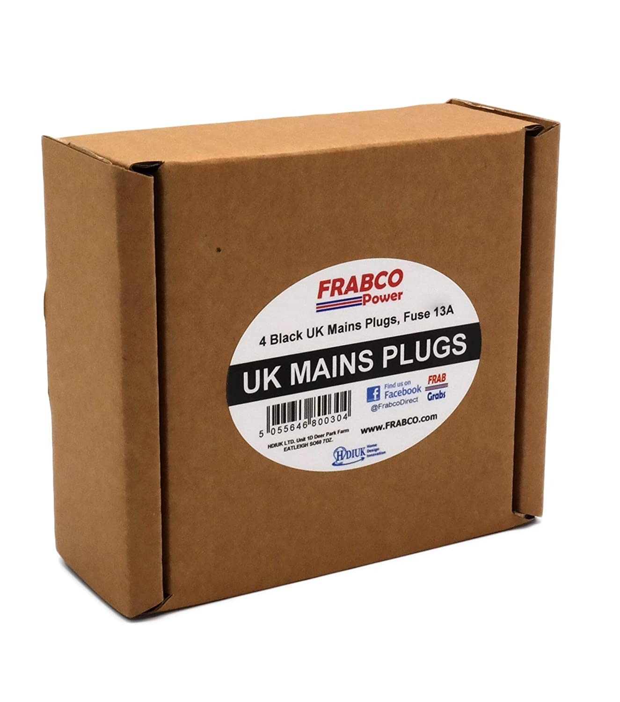 4 unidades negro Enchufes Hdiuk para cables de corriente 13/A del Reino Unido